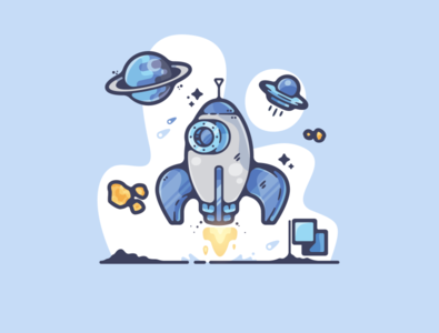 The Final Frontier portfolio flat space rocket sci-fi dribbble designer creative cartoon modern color graphic design graphic illustration shot illustrator simple clean art adobe