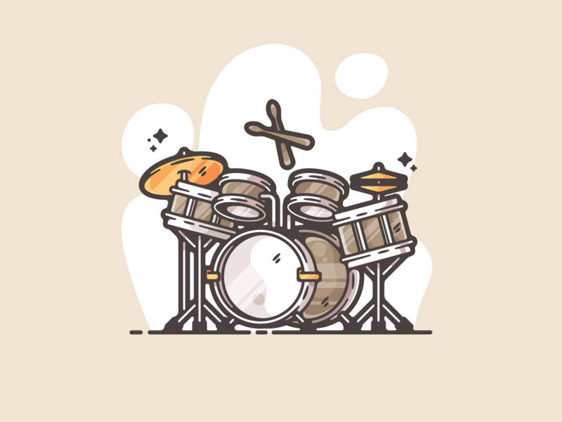 Drum Set portfolio flat music drums instrument dribbble designer creative cartoon modern color graphic design graphic illustration shot illustrator simple clean art adobe
