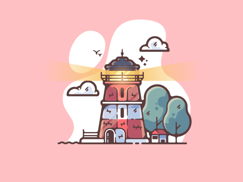 Lighthouse portfolio flat sea lighthouse water dribbble designer creative cartoon modern color graphic design graphic illustration shot illustrator simple clean art adobe