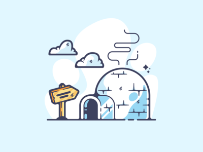 Igloo portfolio flat cold igloo dribbble designer creative cartoon modern color graphic design graphic illustration shot illustrator simple clean art adobe
