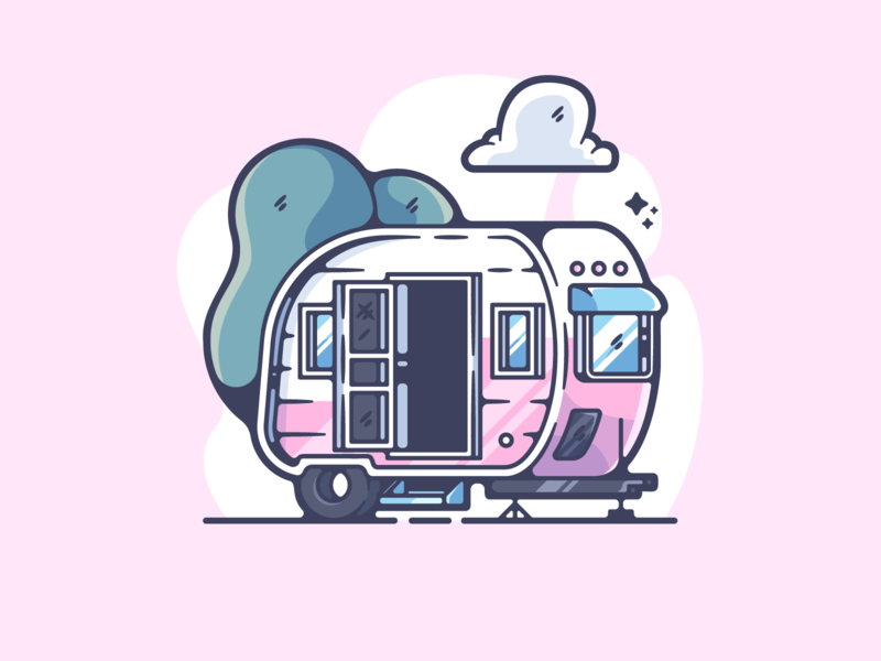 Camper portfolio flat retro camping dribbble designer creative cartoon modern color graphic design graphic illustration shot illustrator simple clean art adobe