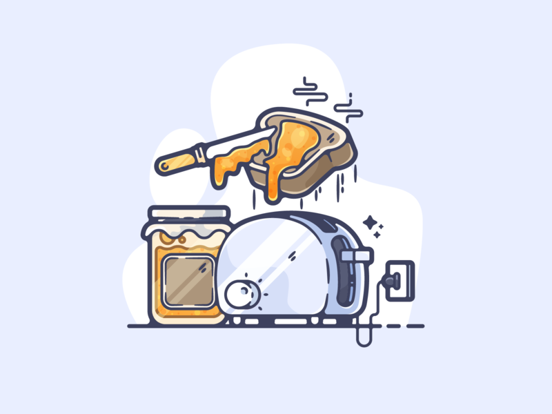 Toast portfolio flat food toast dribbble designer creative cartoon modern color graphic design graphic illustration shot illustrator simple clean art adobe