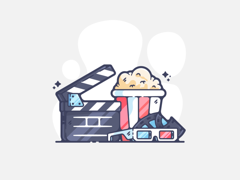 Cinema portfolio flat movies film dribbble designer creative cartoon modern color graphic design graphic illustration shot illustrator simple clean art adobe