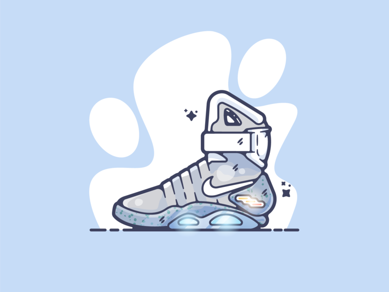 Nike Mags portfolio flat tech shoe dribbble designer creative cartoon modern color graphic design graphic illustration shot illustrator simple clean art adobe