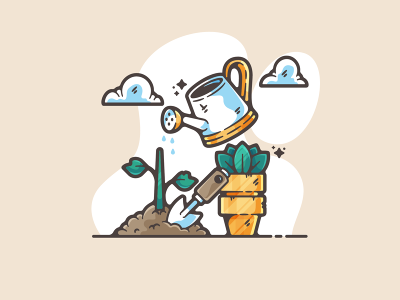 Gardening portfolio flat nature plants dribbble designer creative cartoon modern color graphic design graphic illustration shot illustrator simple clean art adobe