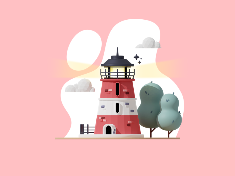 Lighthouse rendering 3d artist 3d graphics 3d modeling design minimal renders clean 3d graphic 3d art simple illustration blender 3d