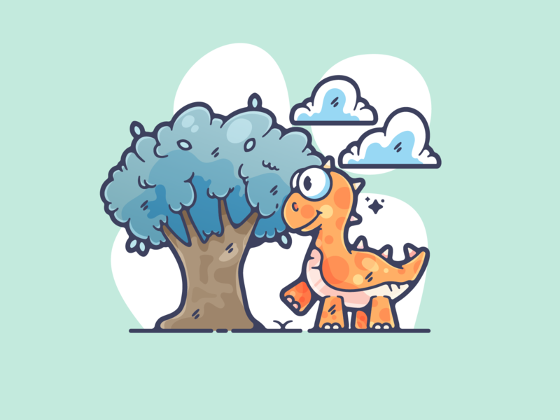 Dinosaur portfolio flat dinosaur dribbble designer creative cartoon modern color graphic design graphic illustration shot illustrator simple clean art adobe