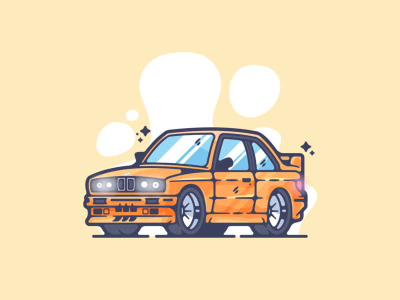 BMW E30 M3 portfolio flat car dribbble designer creative cartoon modern color graphic design graphic illustration shot illustrator simple clean art adobe