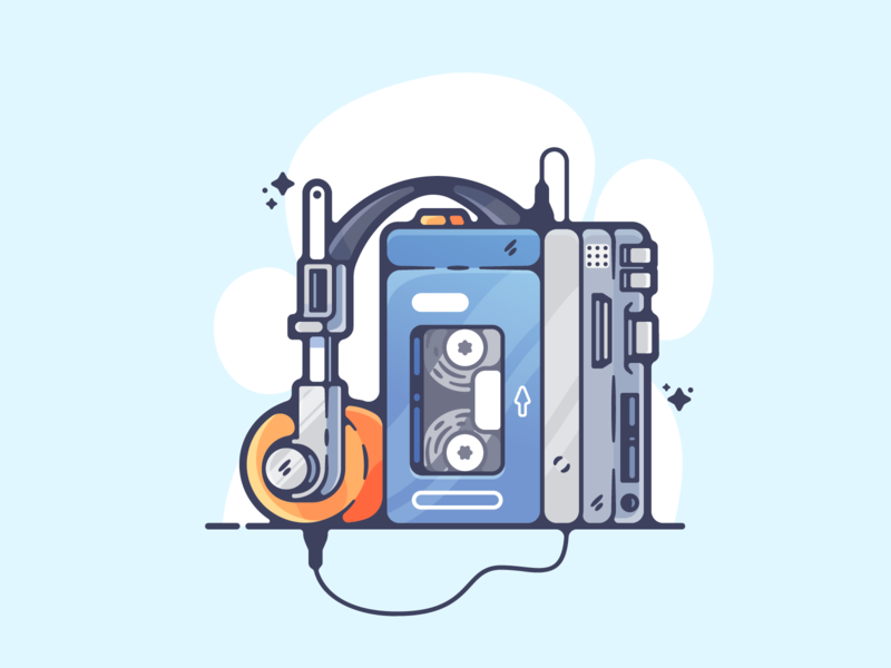 Walkman portfolio flat retro walkman dribbble designer creative cartoon modern color graphic design graphic illustration shot illustrator simple clean art adobe