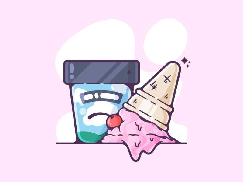 Ice Cream flat ice cream cold dessert sweet dribbble designer creative cartoon modern color graphic design graphic illustration shot illustrator simple clean art adobe
