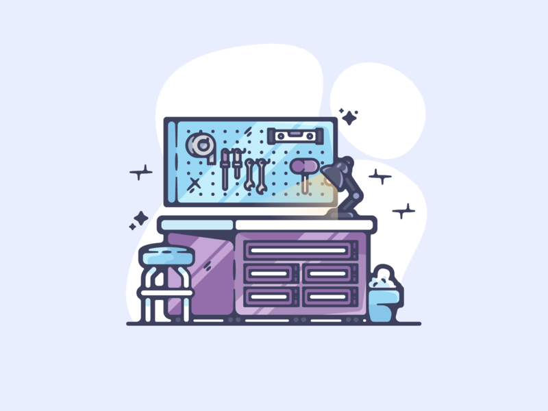 Workbench portfolio flat retro walkman dribbble designer creative cartoon modern color graphic design graphic illustration shot illustrator simple clean art adobe