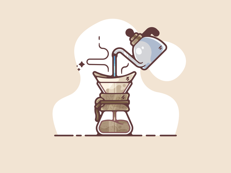 Chemex portfolio flat chemex coffee dribbble designer creative cartoon modern color graphic design graphic illustration shot illustrator simple clean art adobe