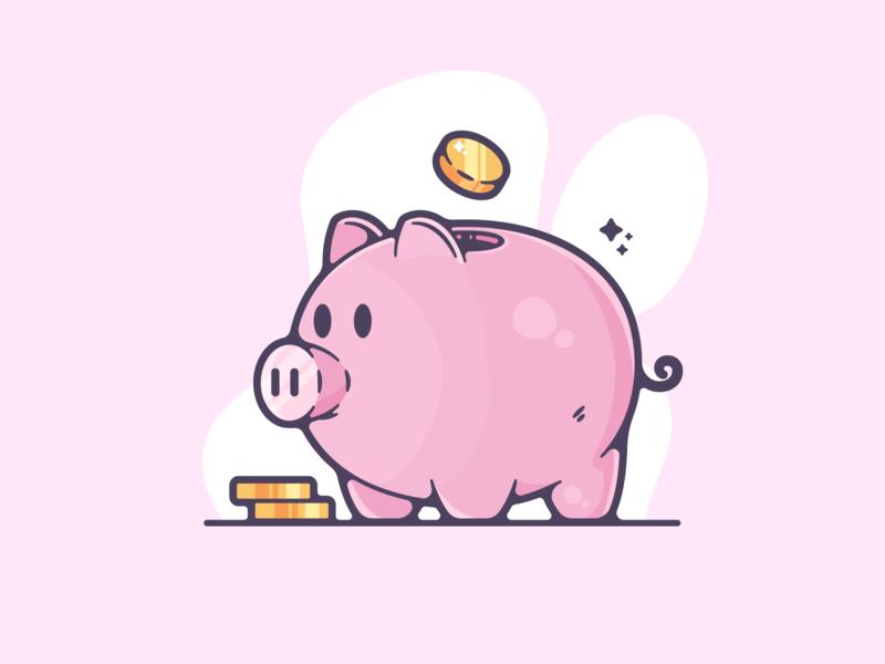 Piggy Bank portfolio flat cute bear dribbble designer creative cartoon modern color graphic design graphic illustration shot illustrator simple clean art adobe