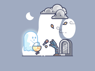 Boo portfolio flat halloween ghost dribbble designer creative cartoon modern color graphic design graphic illustration shot illustrator simple clean art adobe