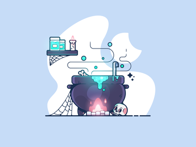 Brewing Station portfolio flat potion halloween dribbble designer creative cartoon modern color graphic design graphic illustration shot illustrator simple clean art adobe