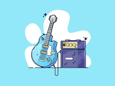 Electric Guitar portfolio flat music guitar dribbble designer creative cartoon modern color graphic design graphic illustration shot illustrator simple clean art adobe