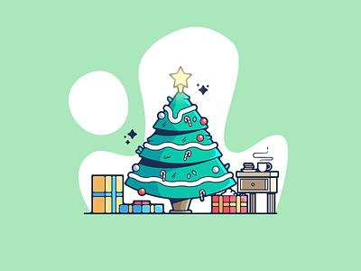 christmas tree portfolio flat holiday christmas dribbble designer creative cartoon modern color graphic design graphic illustration shot illustrator simple clean art adobe