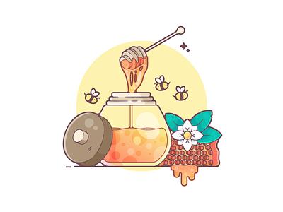 Honey portfolio flat honey bee dribbble designer creative vector art modern color graphic design flat design illustration shot adobe illustrator minimal clean artwork adobe