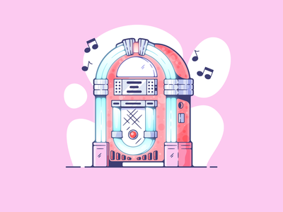 Jukebox portfolio flat retro jukebox dribbble designer creative vector art modern color graphic design flat design illustration shot adobe illustrator minimal clean artwork adobe