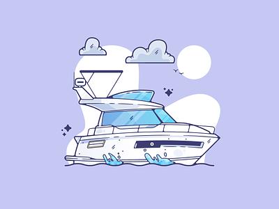 Boat portfolio flat water boat dribbble designer creative vector art modern color graphic design flat design illustration shot adobe illustrator minimal clean artwork adobe