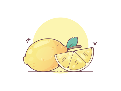 Lemons portfolio flat food lemon dribbble designer creative vector art modern color graphic design flat design illustration shot adobe illustrator minimal clean artwork adobe