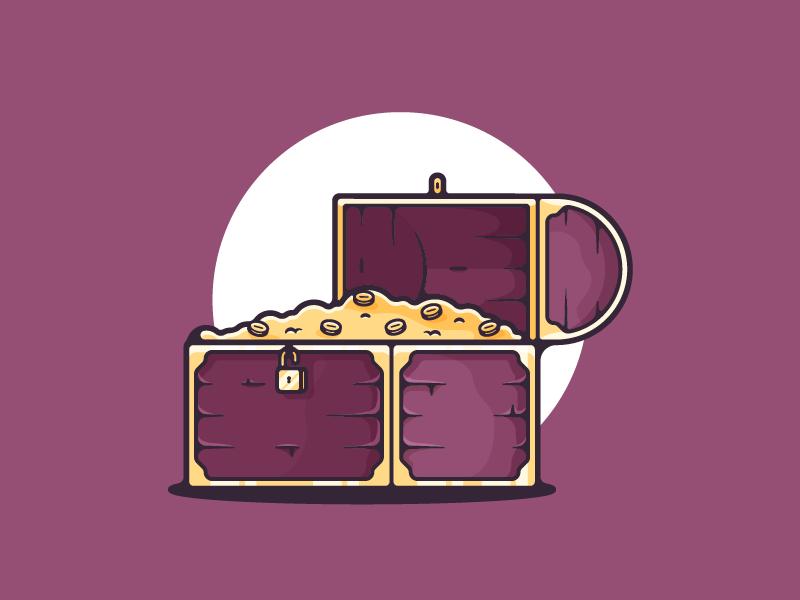 Treasure Chest shot illustrator graphic design simple gold purple chest treasure shots illustrations artwork vector design art minimal dribbble illustration graphic