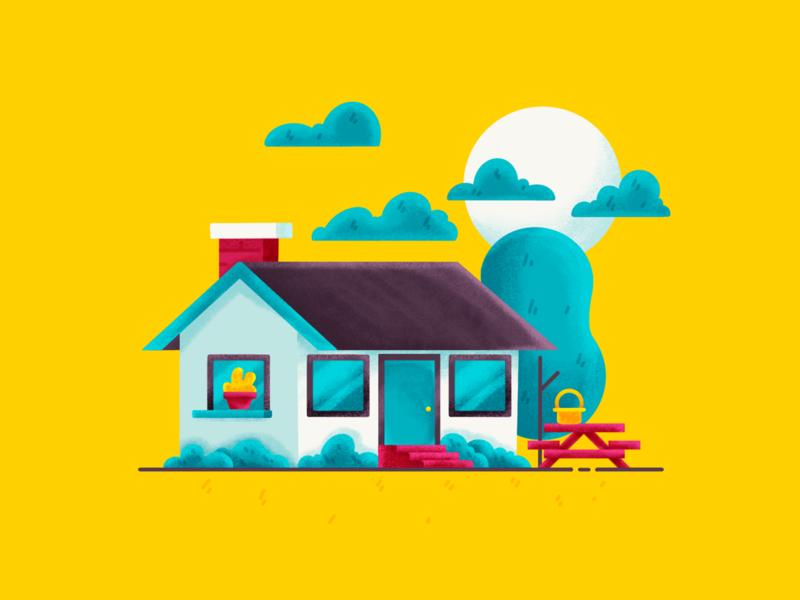 Cabin portfolio flat design flat procreate dribbble designer creative yellow color graphic design graphic illustration shot minimal simple clean art adobe