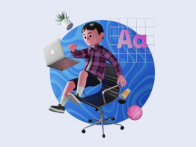 Designer working 3D 3d animation uiux c4d 3d artwork blender3d 3dillustration 3d modeling 3d artist 3d art illustration