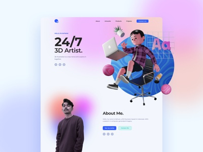 Personal web design 3d 3d animation portfolio landing page ui design 3dillustration illustration web design uiux ui