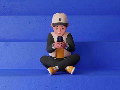 Using a Smartphone smartphone design blender3d 3d modeling 3dillustration 3d artist 3d art illustration