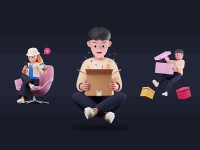 Shopping 3D Illustration Pack 3d animation 3d modeling delivery ecommerce shopping blender3d 3dillustration 3d artist 3d art illustration