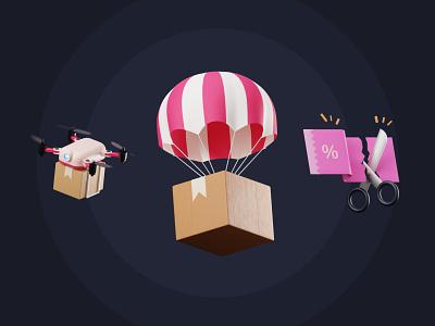 Shopping 3D Icon Pack design 3d artist 3d modeling package delivery blender3d 3dillustration illustration ecommerce shopping