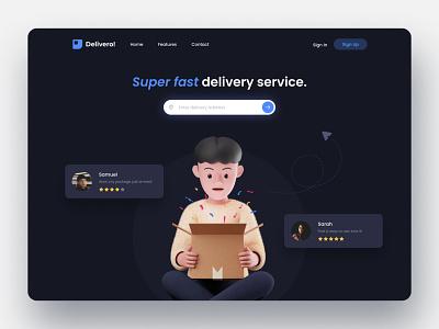 Delivery Service Landing Page 3d artist design uiux uidesign blender3d 3d modeling 3dillustration delivery illustration landingpage