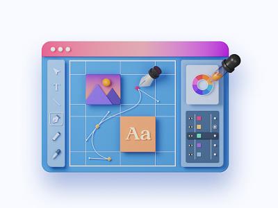 Design App user interface blender3d 3d animation 3d artist adobe illustrator design app 3d art illustration
