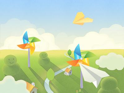 Paper plane cloud paper plane pinwheel
