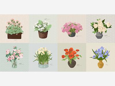 Flowers vector illustration flowerpot flowers flower