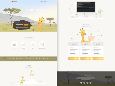 Gira giraffe webpage illustration ui webpage design