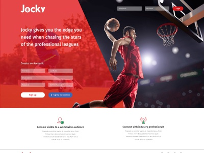 GoJocky - Signup Page By Cirkle Studio social media design sports website graphic design codeignter web design ui design gojocky