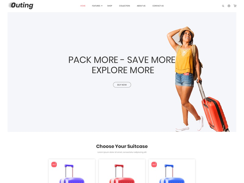 Outing Premium Shopify Theme by Zarathemes web design ui designs graphics design ecommerce design web design ecommerce web design agency free theme shopify theme