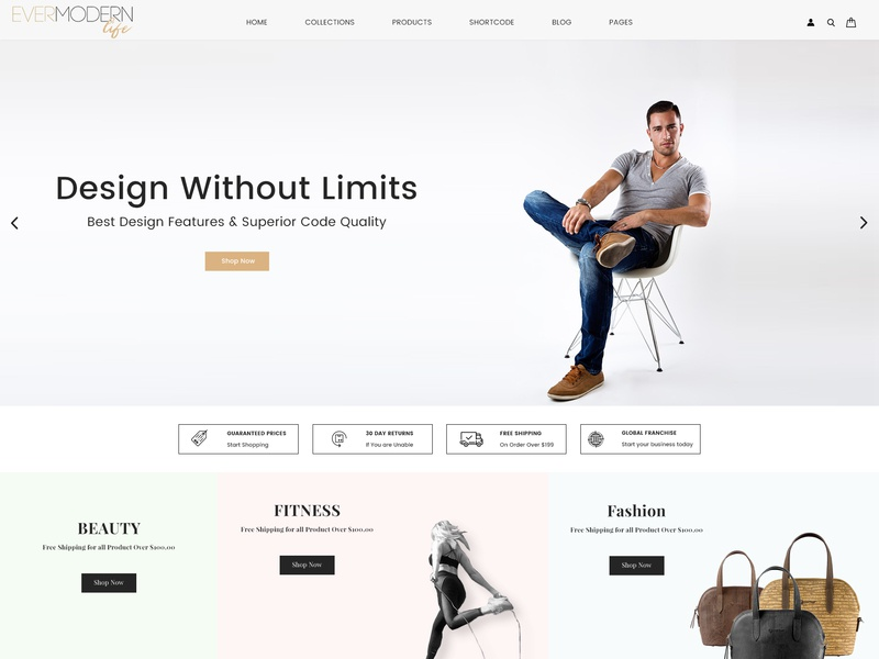 Ever Modern Life - Shopify Store web design shopify theme shopify download free theme ecommerce design