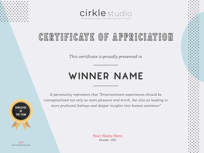 New Certificate Design winner award design branding illustrator photoshop 2019 certificate design certificate