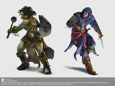 Half Orc Cleric and human rogue for Dragonfire dnd cardgame boardgame half orc orc characters