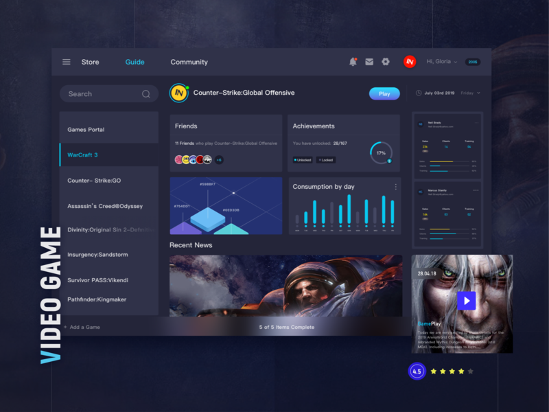 Game and Profile Statistics Dashboard - Game Protal typography illustration article design ux we design charts dark card data center data analysis statistics game artist web ui game