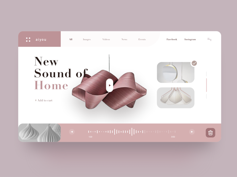 New Sound Of Home smart homepage furniture design simple music web ux art clean ui