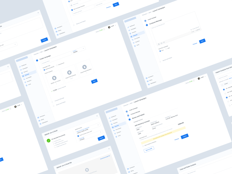 Launch Campaign flow message summary clean minimal steps flow campaign design saas campaign design ux ui