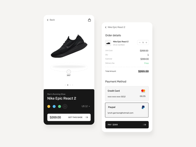 E-commerce app bill payment app credit card product page detail product order summary online store online shop shopping ecommerce trending black minimal clean cards app design ux ui