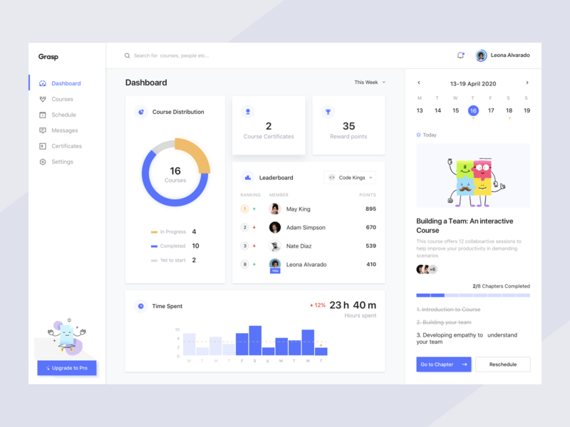 Learning Platform Dashboard blue flat hours progress chapters courses online learning product dashboard trending minimal clean cards app design ux ui