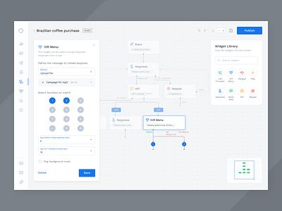 Flow Builder configuration typography icons ivr widgets flowbuilder flow automation sketch saas product minimal clean app design ux ui
