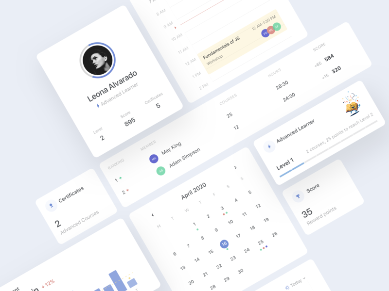 Learning platform cards calendar leaderboard hours profile learning management system learning platform progress dashboard trending product cards minimal clean app design ux ui
