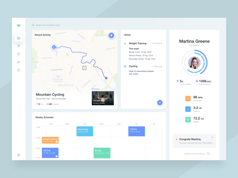 Fitness tracker sleek neat profile schedule cycling tracker fitness asish sunny light ui dashboard trending product cards minimal clean app design ux ui ui ux